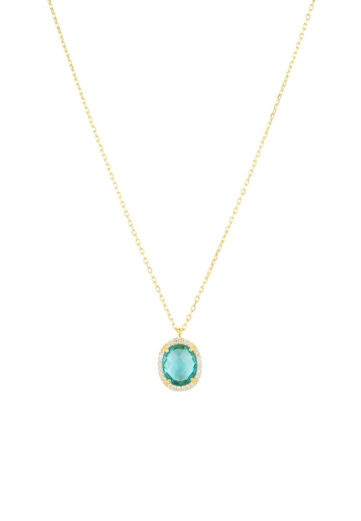 Beatrice Oval Gemstone Pendant Necklace Gold Blue Topaz Hydro - LATELITA
