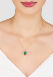 Beatrice Oval Gemstone Pendant Necklace Gold Green Onyx - LATELITA