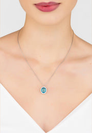 Beatrice Oval Gemstone Pendant Necklace Silver Blue Topaz Hydro - LATELITA