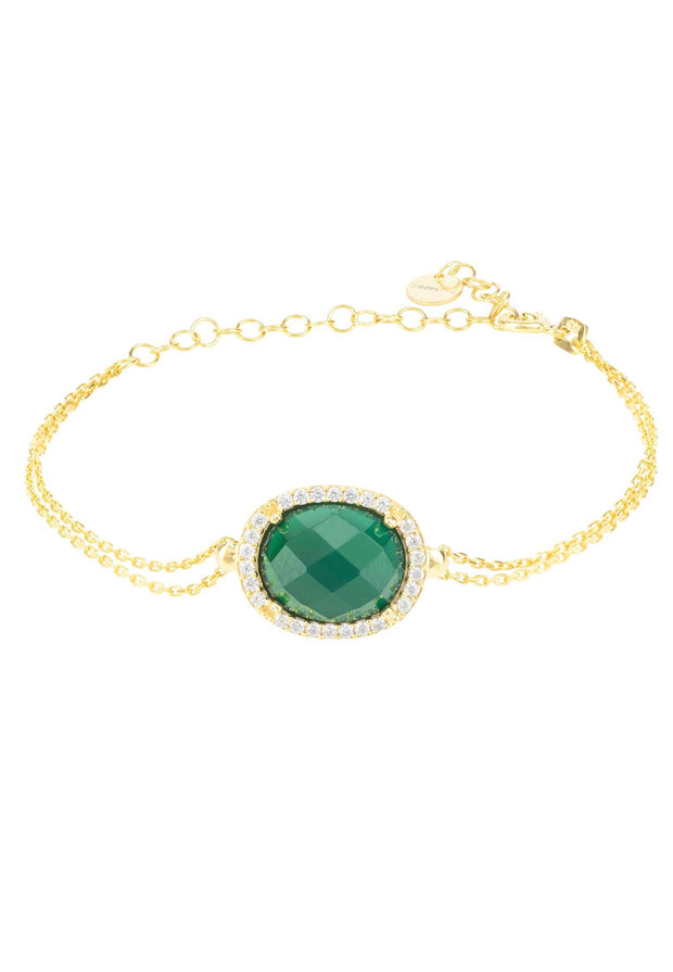 Beatrice Oval Gemstone Bracelet Gold Green Onyx - LATELITA