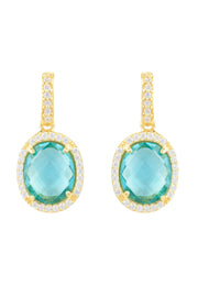 Beatrice Oval Gemstone Drop Earrings Gold Blue Topaz Hydro - LATELITA