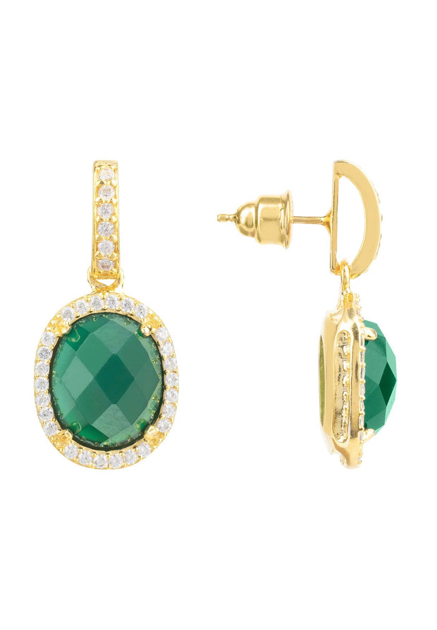 Beatrice Oval Gemstone Drop Earrings Gold Green Onyx - LATELITA