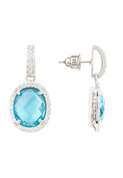 Beatrice Oval Gemstone Drop Earrings Silver Blue Topaz Hydro - LATELITA