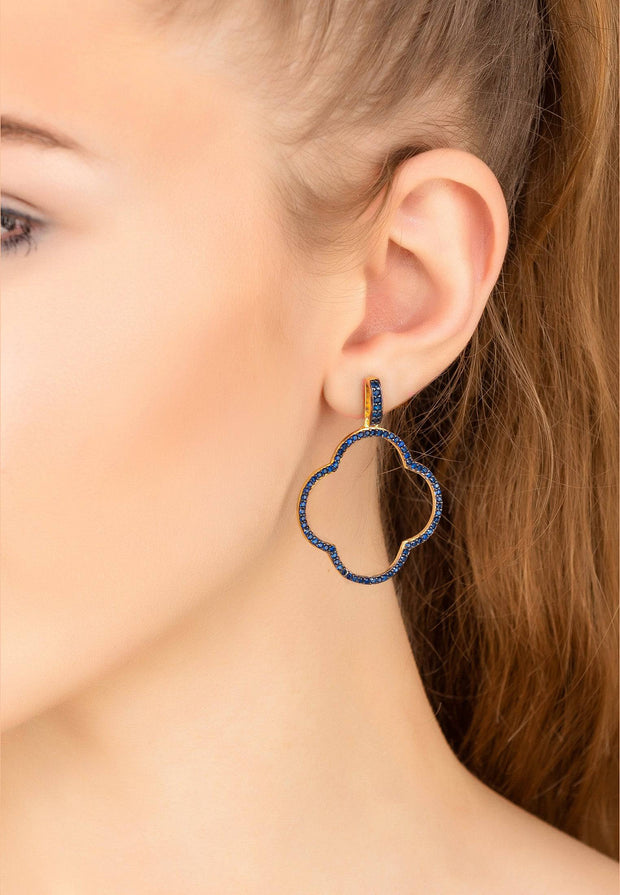 Open Clover Large Drop Earrings Gold Sapphire Blue CZ - LATELITA