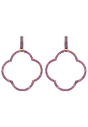 Open Clover Large Drop Earrings Rosegold Ruby Pink CZ - LATELITA