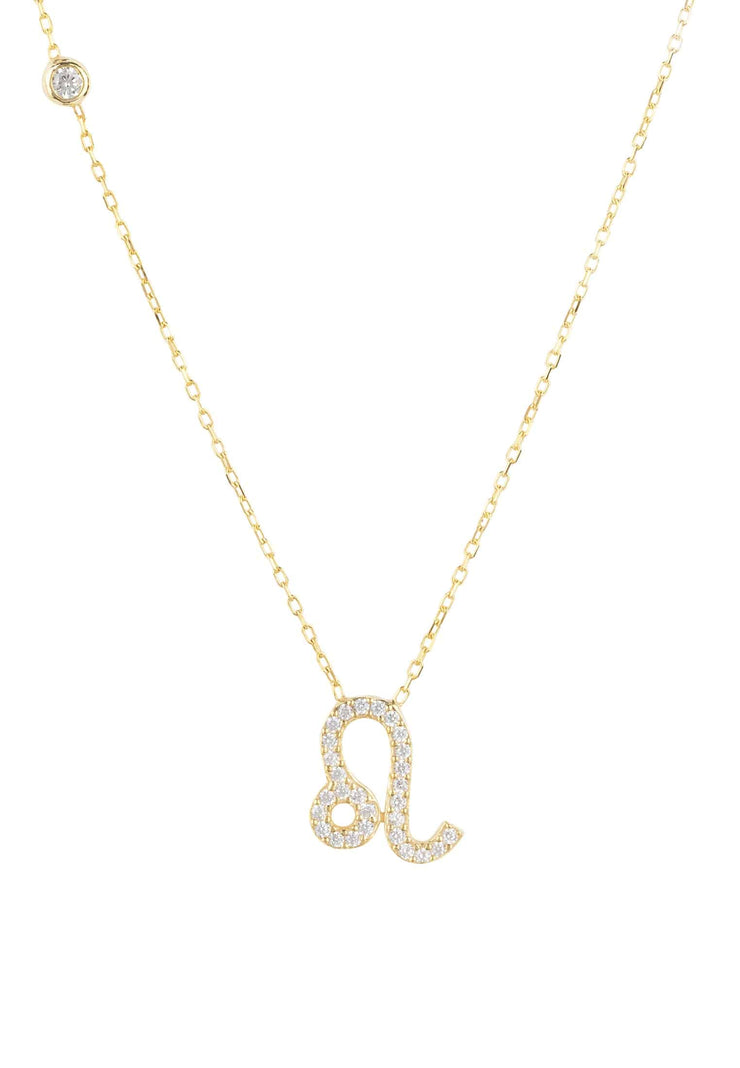 Zodiac Star Sign Pendant Necklace Gold Leo - LATELITA