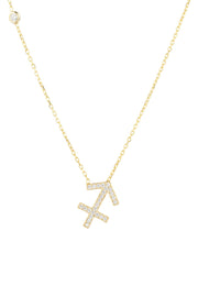 Zodiac Star Sign Pendant Necklace Gold Sagittarius - LATELITA
