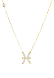 Zodiac Star Sign Pendant Necklace Gold Pisces - LATELITA