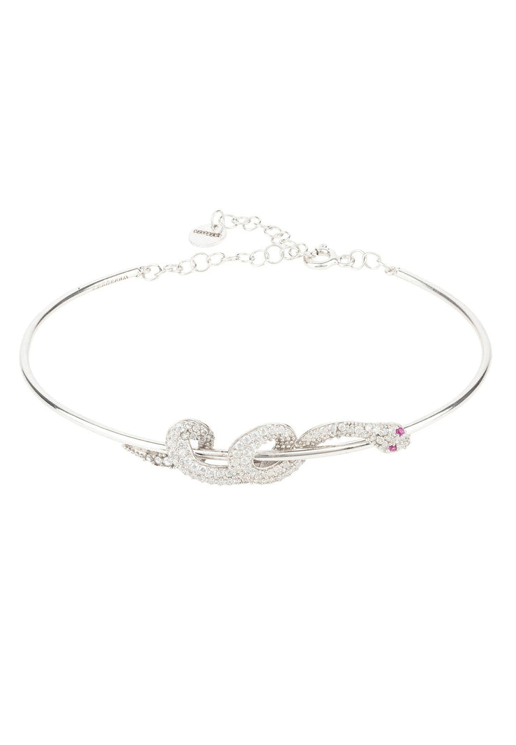 Cleopatra Serpent Snake Bangle Bracelet Silver - LATELITA