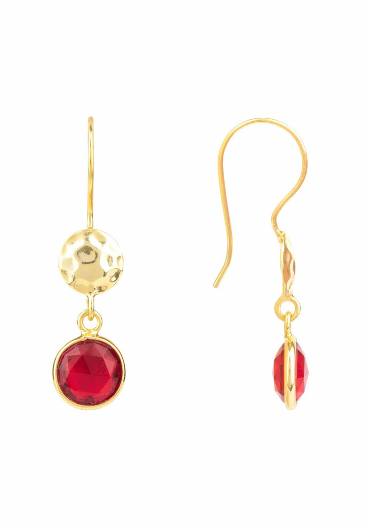 Circle & Hammer Earring Gold Garnet - LATELITA
