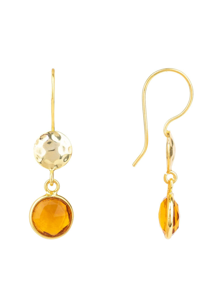 Circle & Hammer Earring Gold Citrine - LATELITA