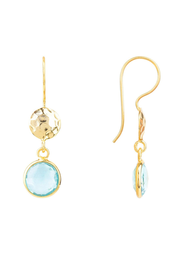 Circle & Hammer Earring Gold Blue Topaz - LATELITA