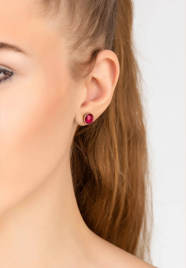 Medium Circle Stud Earrings Rosegold Pink Tourmaline - LATELITA