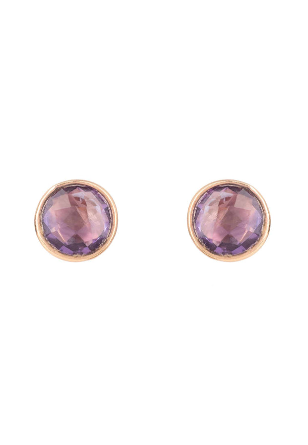 Medium Circle Stud Earrings Rosegold Amethyst - LATELITA