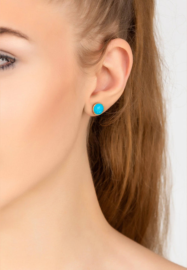 Medium Circle Stud Earrings Gold Turquoise - LATELITA