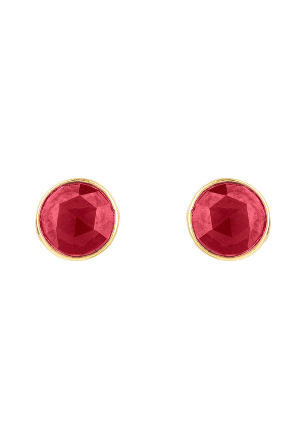 Medium Circle Stud Earrings Gold Garnet - LATELITA