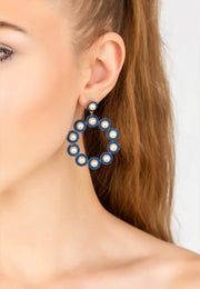The Gatsby Pearl Earrings Sapphire Blue CZ Gold - LATELITA
