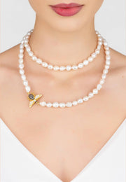 Honey Bee Pearl Gemstone Long Necklace Gold - LATELITA