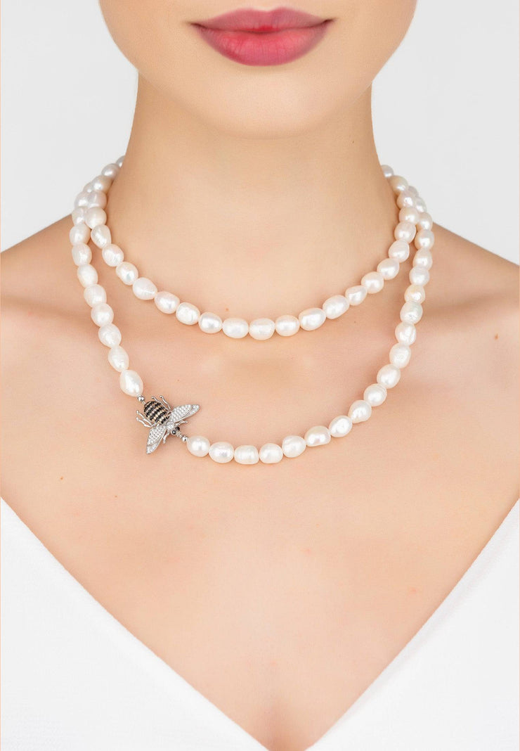 Honey Bee Pearl Gemstone Long Necklace Silver - LATELITA