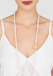 Flower Pearl Gemstone Long Necklace White CZ Gold - LATELITA