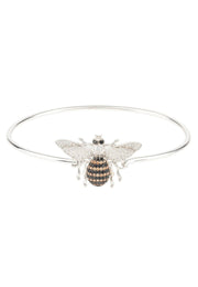 Honey Bee Bangle Bracelet Silver - LATELITA
