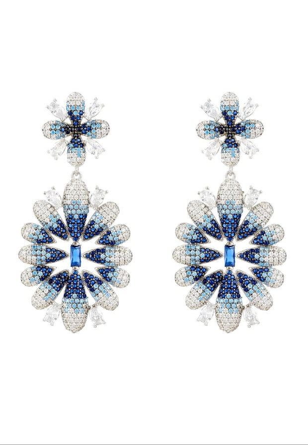 Babylon Ice Blue Gradient Flower Drop Earrings Silver - LATELITA