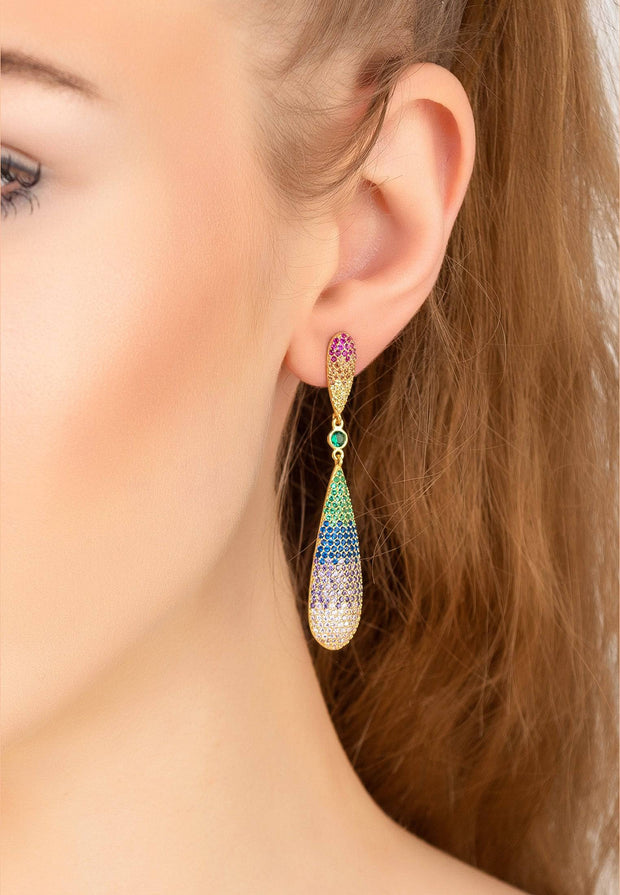 Coco Long Drop Earrings Rainbow Gold - LATELITA