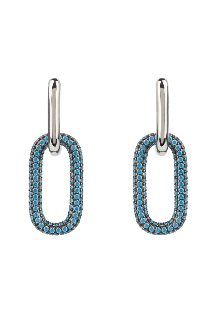 Chain Link Earrings Turquoise Blue Silver - LATELITA
