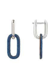 Chain Link Earrings Sapphire Blue Silver - LATELITA