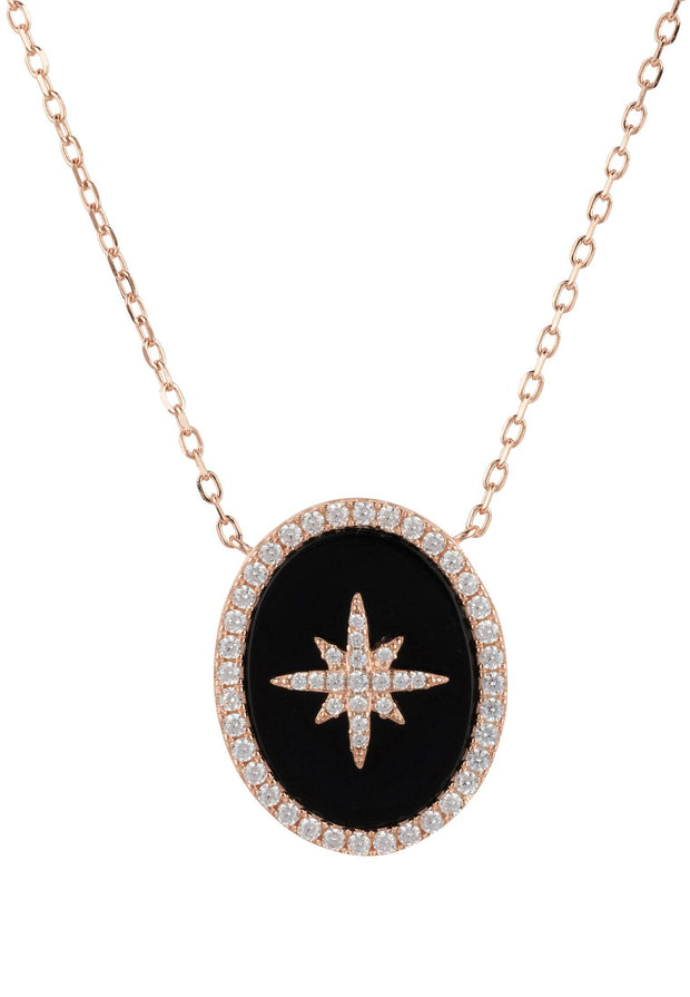 Starburst Oval Pendant Necklace Black Onyx Rosegold - LATELITA