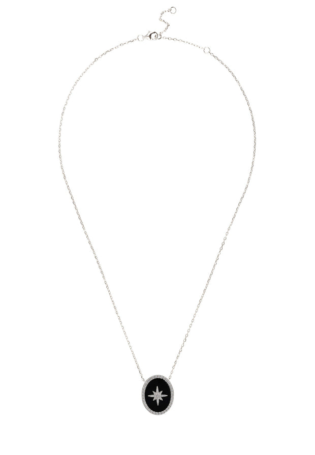 Starburst Oval Pendant Necklace Black Onyx Silver - LATELITA