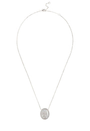 Starburst Oval Pendant Necklace Mother Of Pearl silver - LATELITA