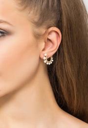 Pearl Sweeping Hoop Earring Silver - LATELITA