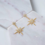 Petite Star burst Drop Earring Gold