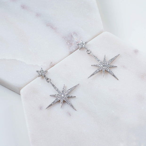 Petite Star burst Drop Earring Silver