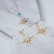 Petite Star burst Drop Earring Gold - LATELITA