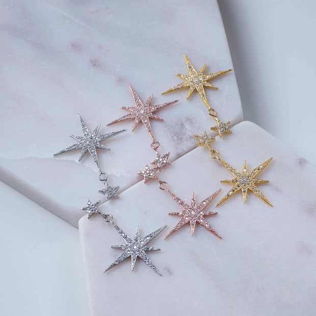 Petite Star burst Drop Earring Silver - LATELITA