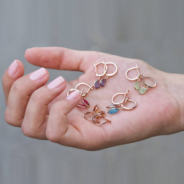 Pisa Mini Teardrop Earring Rosegold Smokey Quartz