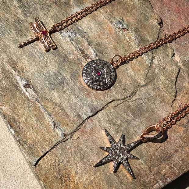 Diamond & Ruby Evil Eye Necklace Rosegold - LATELITA