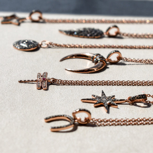 Diamond & Ruby Dragonfly Necklace Rosegold - LATELITA