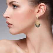 Sunburst Grey Mother Of Pearl Earring Gold