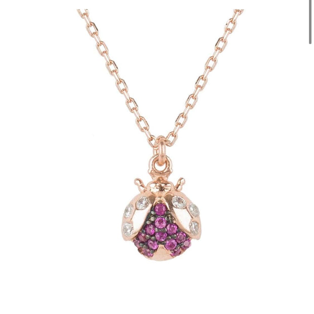 Lady Bug Necklace Purple CZ Rose Gold