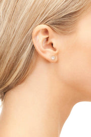 Petite Stud Earring Gold Rose Quartz - LATELITA