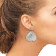 Hamsa White Mother Of Pearl Teardrop Earring