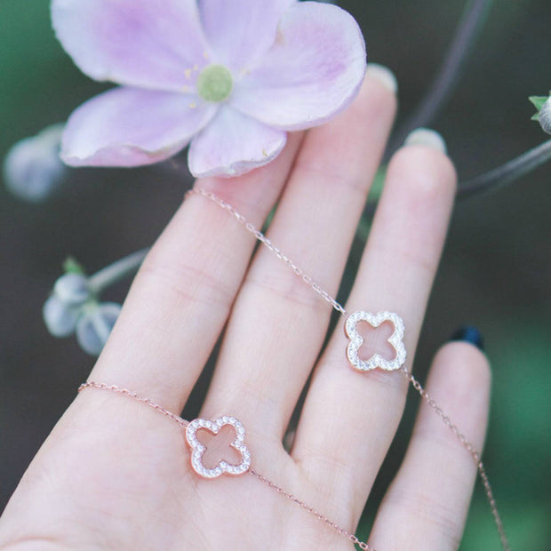 Necklace Long Open Clover Rosegold