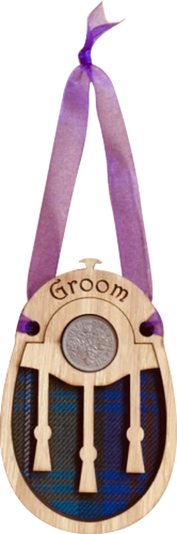 """Groom"" Sporran shaped Lucky Sixpence"