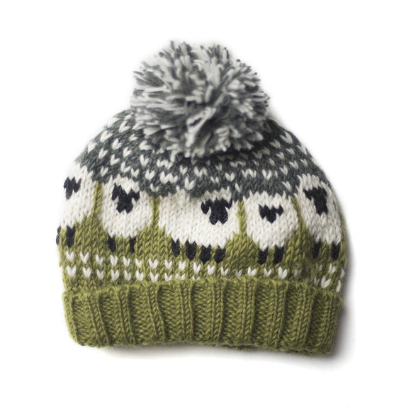 Chunky Hand Knitted Woollen Sheep Bobble Hat - Green