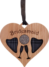"'Bridesmaid"" Heart shaped Lucky Sixpence."