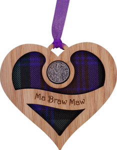 """Ma Braw Maw"" engraved heart lucky sixpence"
