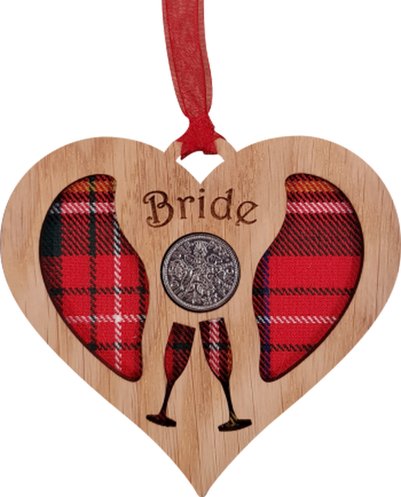 "'Bride"" Heart shaped Lucky Sixpence"